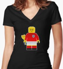 England World Cup 1966 Minifig Women's Fitted V-Neck T-Shirt