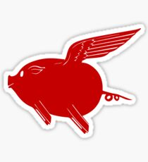 Flying P-Car Red Pig Sticker