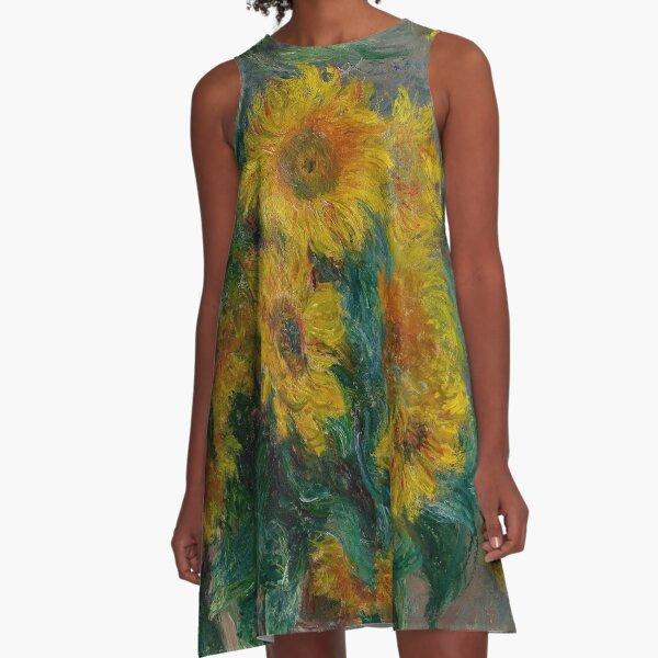 Blumenstrauß aus Sonnenblumen A-Linien Kleid