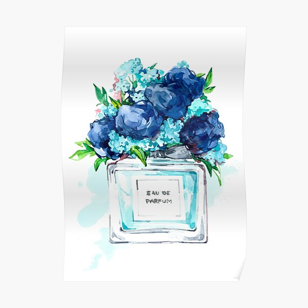 Perfume Bottle Watercolor Painting Hand Painted With Blue Flowers Poster