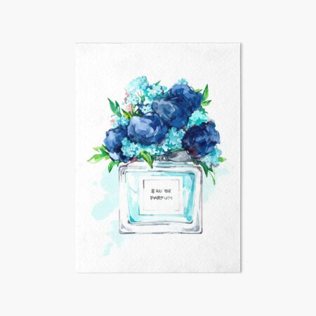 Perfume Bottle Watercolor Painting Hand Painted With Blue Flowers Art Board Print