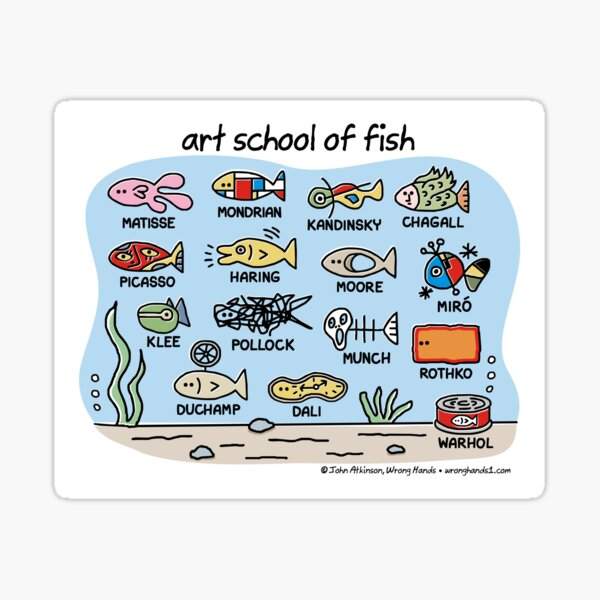 art school of fish Sticker