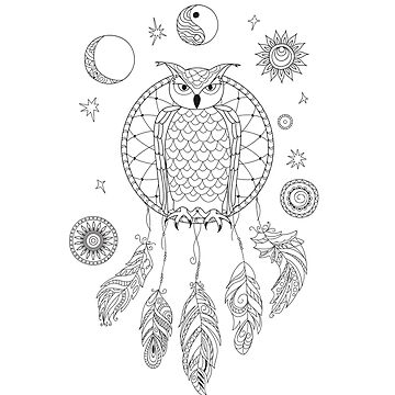 dreamcatcher with owl, yin yang, moon and sun  by AlinNova