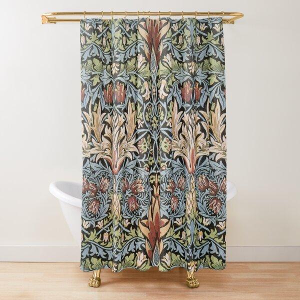 Movimiento de Artes y Oficios. Textil estampado serpiente. William Morris. 1876. Cortina de ducha