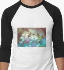 Apple blossoms over blurred nature background Men's Baseball ¾ T-Shirt