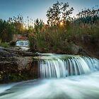 Hidden Waterfall at Sunset by Ralph Goldsmith