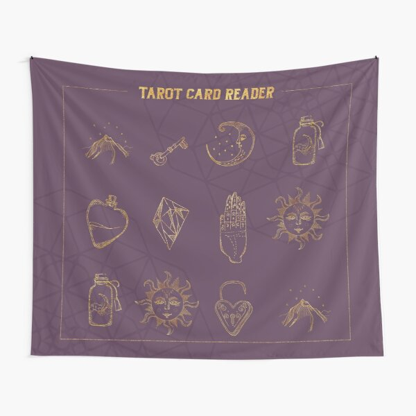 Tarot card reader in purple and gold Tapestry