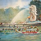 Dragon Boat rowing race Watercolor Painting id1360033  by Almondtree