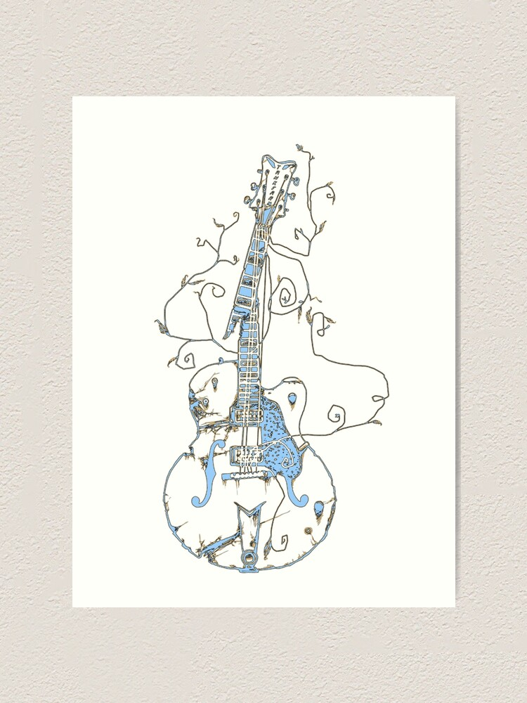 Artistic Guitar Drawing Art Print By Gypseadesigns Redbubble