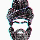 Rumi - Graphic Silhouette Head with Distressed 3-Tone Anaglyphic Effect by MunirZamir