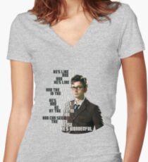 David Tennant - He's wonderful Women's Fitted V-Neck T-Shirt
