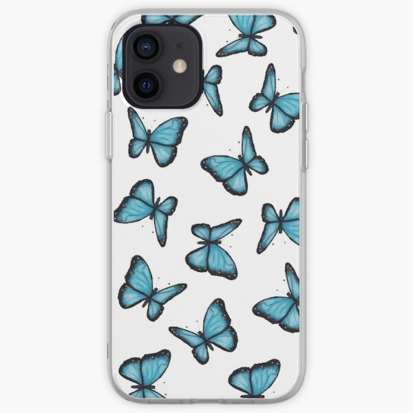 Blue Butterflies, Pattern, Wings, Wildlife, Insects, Nature, From Original Art iPhone Soft Case