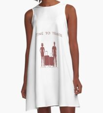 Man and woman with suitcases. Time to travel. A-Line Dress