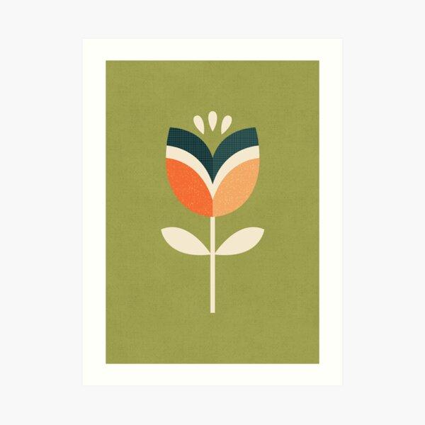 Retro Tulip - Orange and Olive Green Art Print