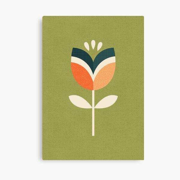 Tulipán Retro - Naranja y Verde Oliva Lienzo