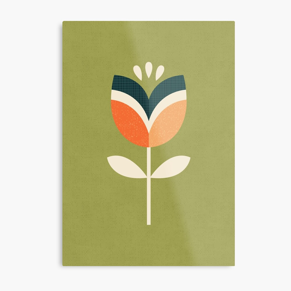 Retro Tulpe - Orange und Olivgrün Metallbild