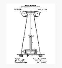 Tesla Coil Patent Black  Photographic Print