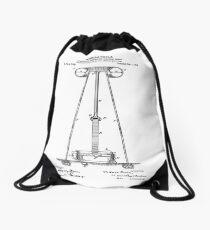 Tesla Coil Patent Black  Drawstring Bag
