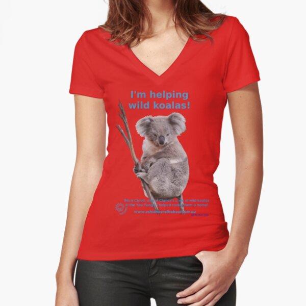 I'm helping wild koalas - Cloud Fitted V-Neck T-Shirt