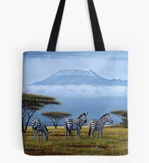Beautiful art designs of Zebras at the foot of Mt. Kilimanjaro Tote Bag