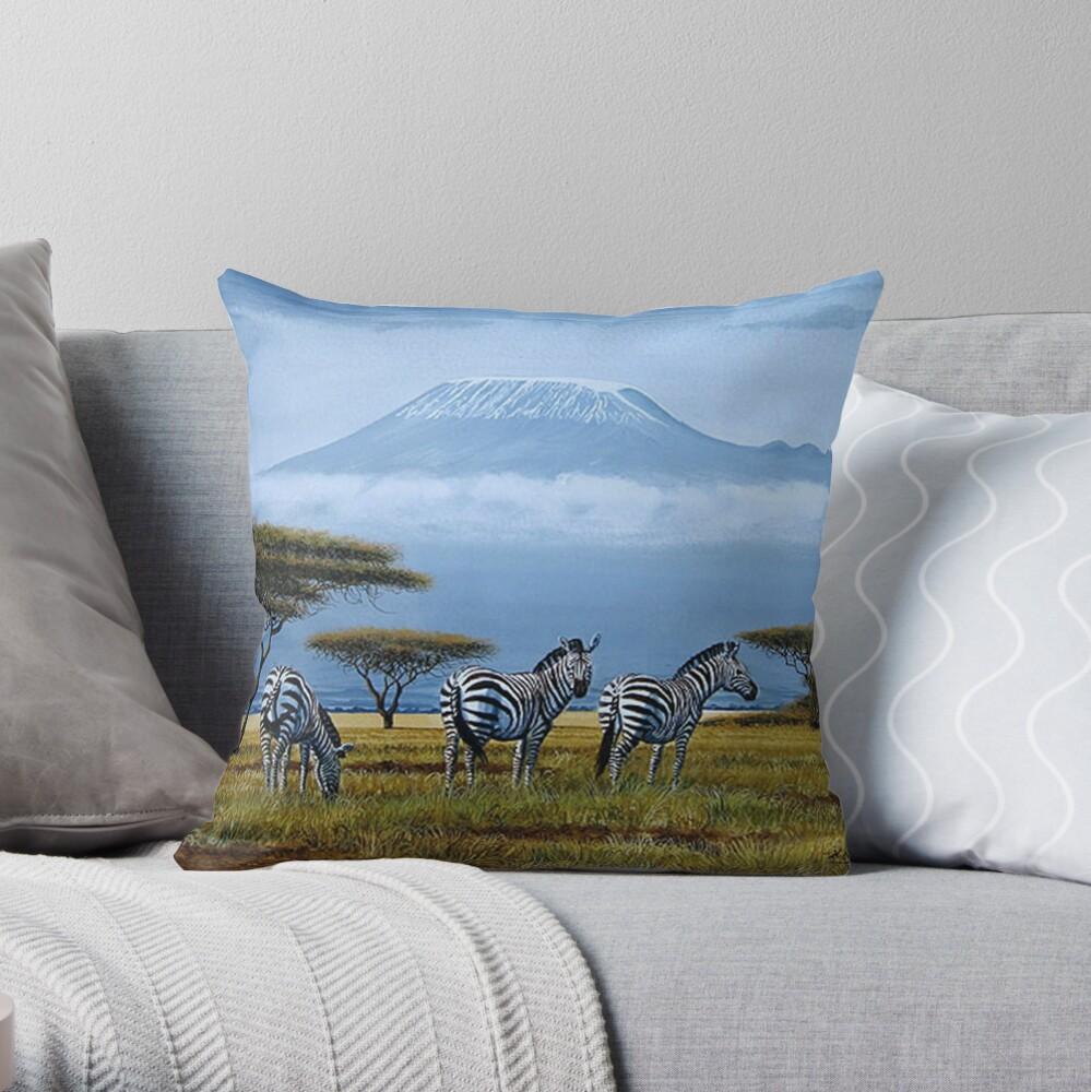 Beautiful art designs of Zebras at the foot of Mt. Kilimanjaro Throw Pillow