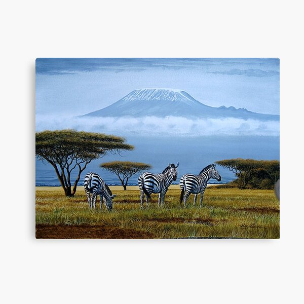 Beautiful art designs of Zebras at the foot of Mt. Kilimanjaro Canvas Print