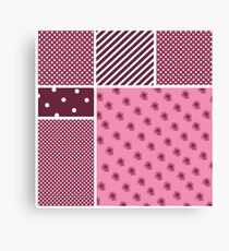CARNATIONS DOTS AND STRIPES Canvas Print