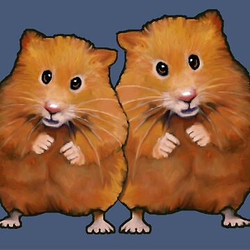 Hamster Couple on Blue, Original Illustration, Cute Hamsters, Animals by Joyce