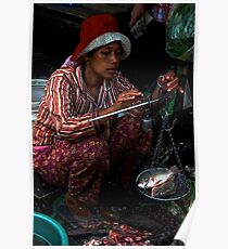 The Market's Fishes Lady - Phnom Penh, Cambodia. Poster