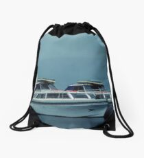 Other boats parked in Urquhart Bay Loch Ness Scotland 19840909 0012 Drawstring Bag