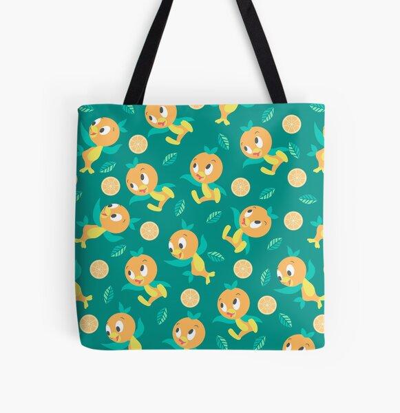 Teal Orange Bird Pattern All Over Print Tote Bag