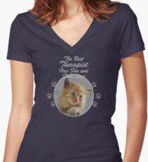 """Kitten with """"the best therapist has fur and four legs"""" quote Women's Fitted V-Neck T-Shirt"""