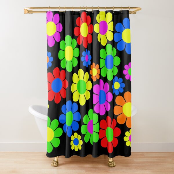 Hippy Flower Daisy Spring Pattern Shower Curtain