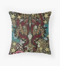 dragons and flowers Throw Pillow