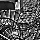 Vertigo - The Grand Stair Case (Monochrome)- QVB , Sydney - The HDR Experience by Philip Johnson