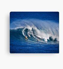 Three Surfers At Waimea Bay Canvas Print