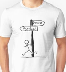 "Funny ""Reality vs Portland"" Signpost Themed Design Unisex T-Shirt"