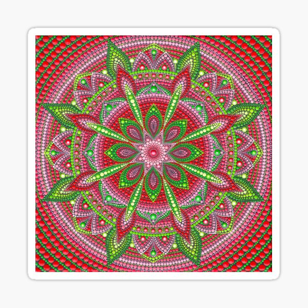 Red and Green Mandala painting Sticker