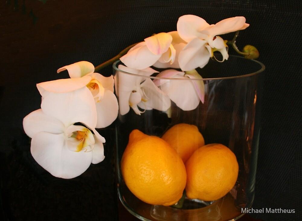 Still Life In Paris .. Orchids & Lemons by Michael Matthews