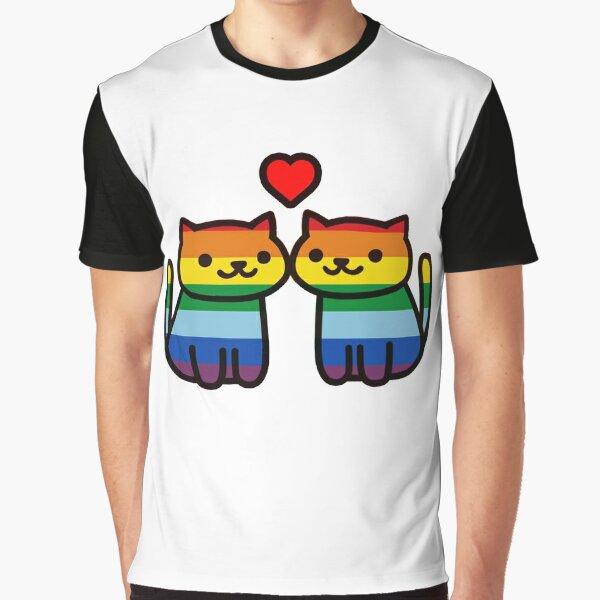 Neko Atsume Gay Pride Merch Graphic T-Shirt