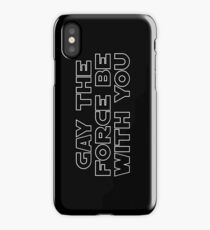 Gay the Force (white, outline) iPhone Case