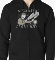 nikola tesla death ray Zipped Hoodie