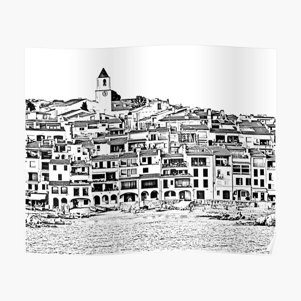 Calella de Palafrugell Black and White Poster