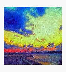 colorful sunset impressionism painting Photographic Print