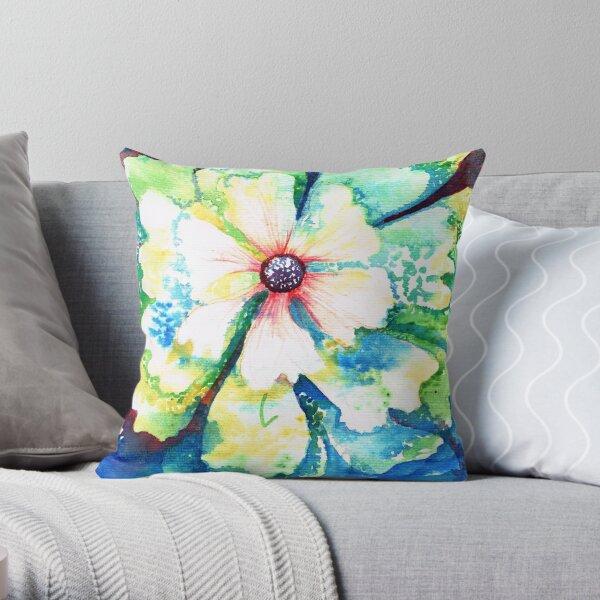 Aqua blooms Throw Pillow