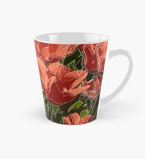 red tulips white lines Tall Mug