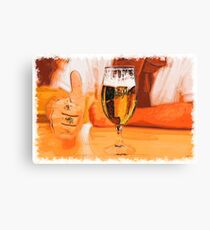 Glass of beer drawn Art Canvas Print