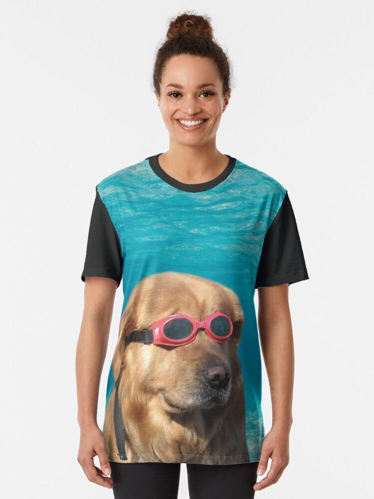 Alternate view of Swimmer Dog Graphic T-Shirt