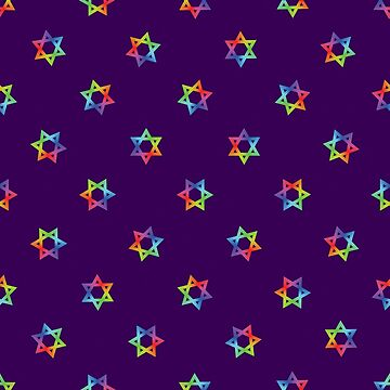 Rainbow Star of David Pattern on Purple by DomPlatypus