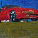 A Porsche 944 drawing in oil pastel. by SteveBrandon